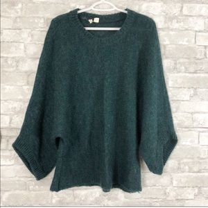 Anthropologie Moth Fuzzy Green Sweater